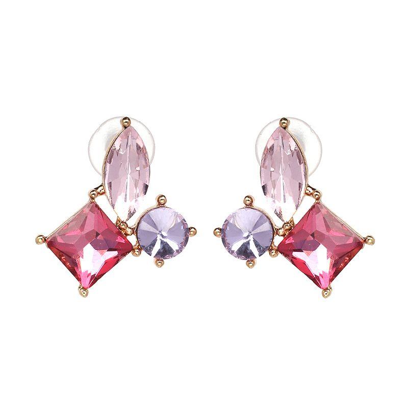 Korea Imitated crystal&CZ  earring Geometric (Photo Color)  NHJJ3816-Photo Color