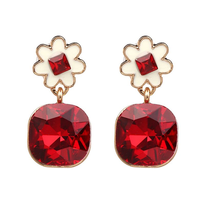 Korea Imitated crystal&CZ  Earrings Flowers (red)  NHJJ3844-red