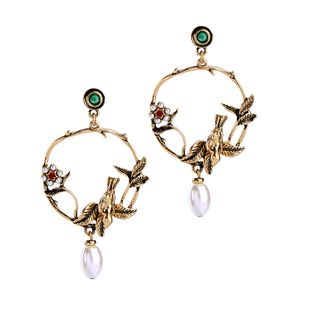 Occident and the United States alloy Inlaid gemstones Earrings NHQD3410's discount tags
