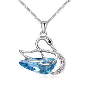 Austrian Imitated crystal Necklace - Fantasy Swan (Sea Blue) NHKSE24748