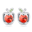 Austrian Imitated crystal Earrings  Little Apple Water Lotus Red NHKSE24785