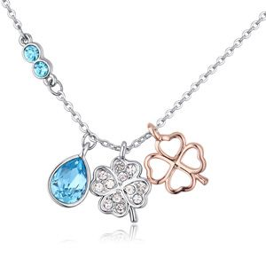 Austrian imitated crystal necklace  spring breeze sea blue NHKSE25031