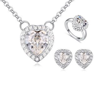 Austrian Imitated crystal Set - Hearts (White) NHKSE25032