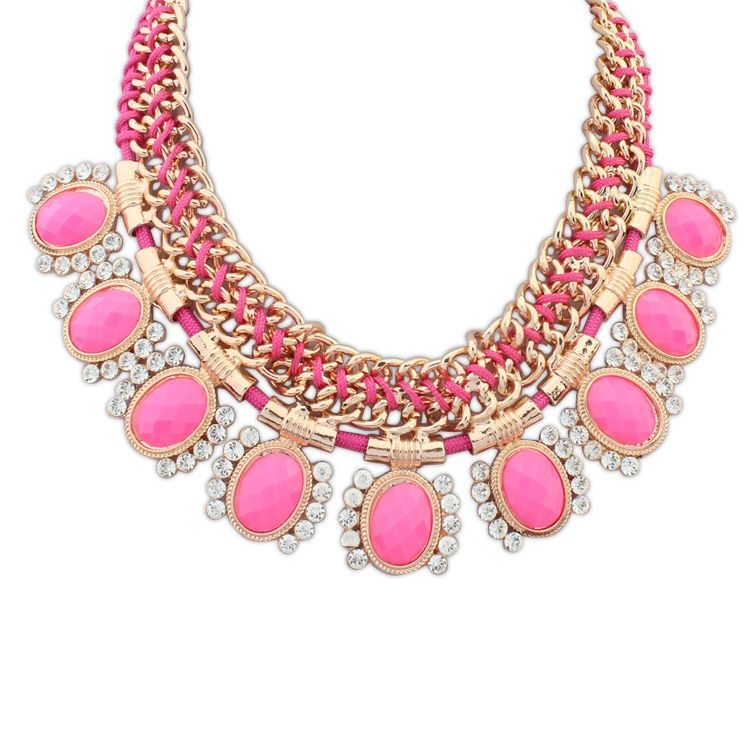 Occident and the United States fashion wild knitting rhinestone necklace (rose red) NHNPS2018