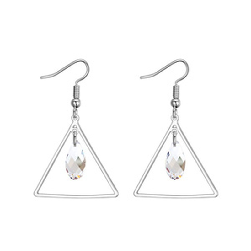 Austrian Imitated crystal Earrings  Triangle in Tears White NHKSE25406