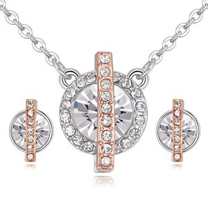 Imported imitated crystal set necklace - imprisoned love (white) NHKSE25335