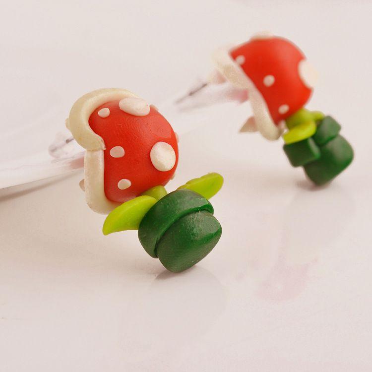 folk-custom Soft pottery manual earring (green)  NHGY0001