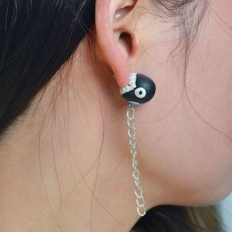 Cartoon Soft pottery manual earring (black)  NHGY0008