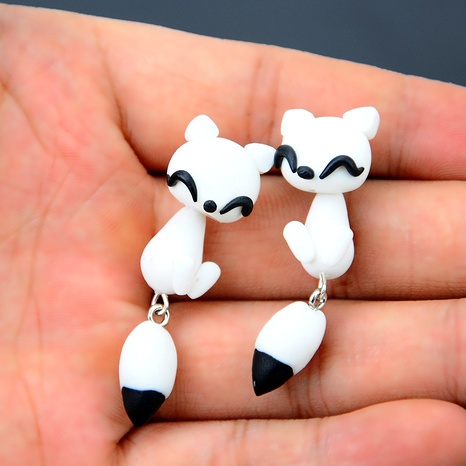 Cartoon Soft pottery manual earring (white)  NHGY0018's discount tags