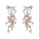 S925 Alloy Needle AAA Grade Cylindrical Stud Earrings  Bead Jewelery Rose Alloy NHKSE25858