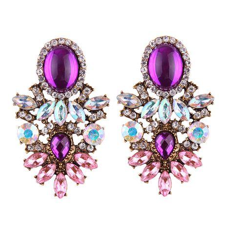 folk-custom alloy Rhinestone earring (rose Red)  NHJQ8910's discount tags