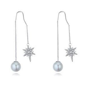 Imported imitated crystal earrings  love badge white NHKSE25750