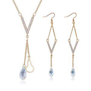 Austrian Imitated crystal Set  V Tears Champagne Alloy NHKSE25918
