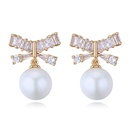 S925 Alloy Needle AAA Grade Inlaid Cylindrical Stud Earrings  Butterfly Beads Platinum NHKSE25963