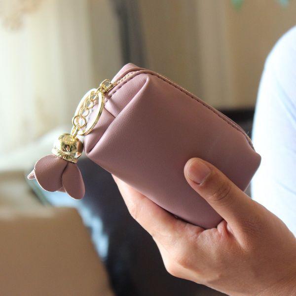 Korean version PU leather  wallet (pale pinkish gray)  NHNI0308-pale pinkish gray