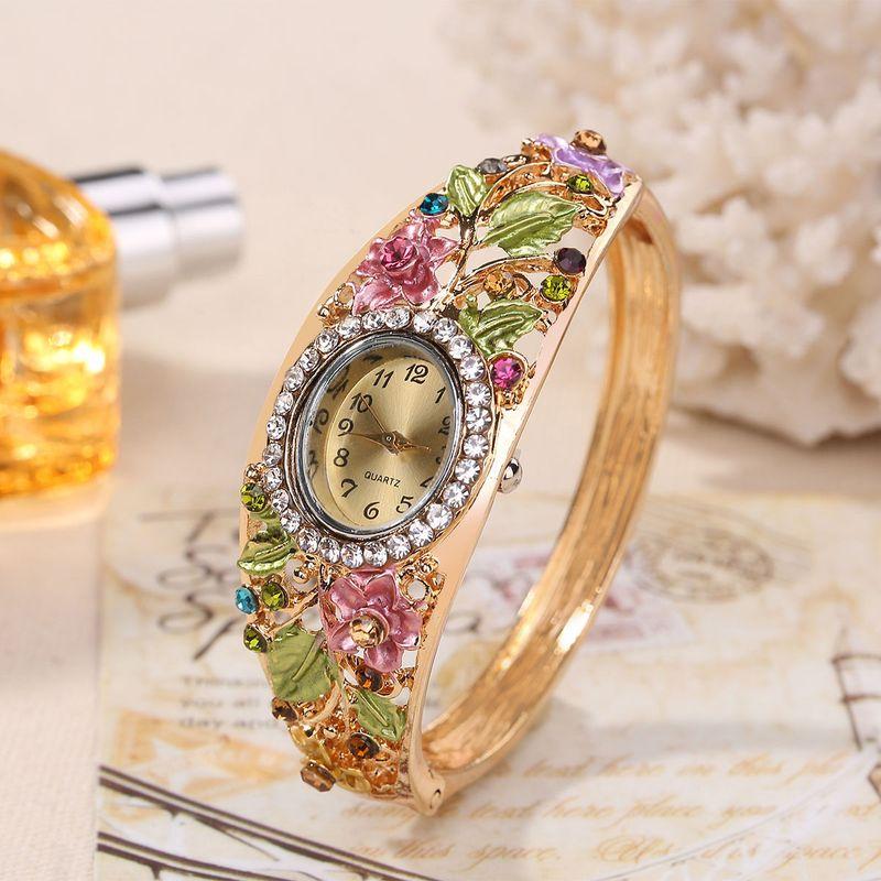 Chinese style   Watch (Purple yellow flowers)  NHHK0761-Purple yellow flowers