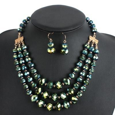 Occident and the United States Glass  necklace (Green light)  NHCT0066-Green light