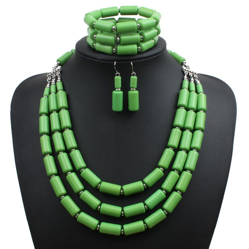 Occident and the United States Resin  Necklace Set (green)  NHCT0067-green