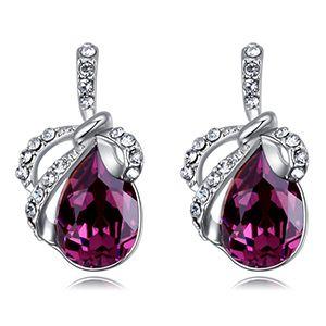 Austrian Imitated crystal Stud Earrings  Butterfly Warrior Purple NHKSE26233
