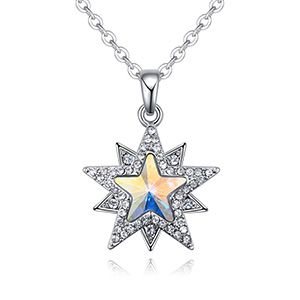 Austrian imitated crystal necklace  star edge odd dream color white NHKSE26209
