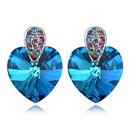 Austrian Imitated crystal Stud Earrings  Hearts Yue Purple NHKSE26206
