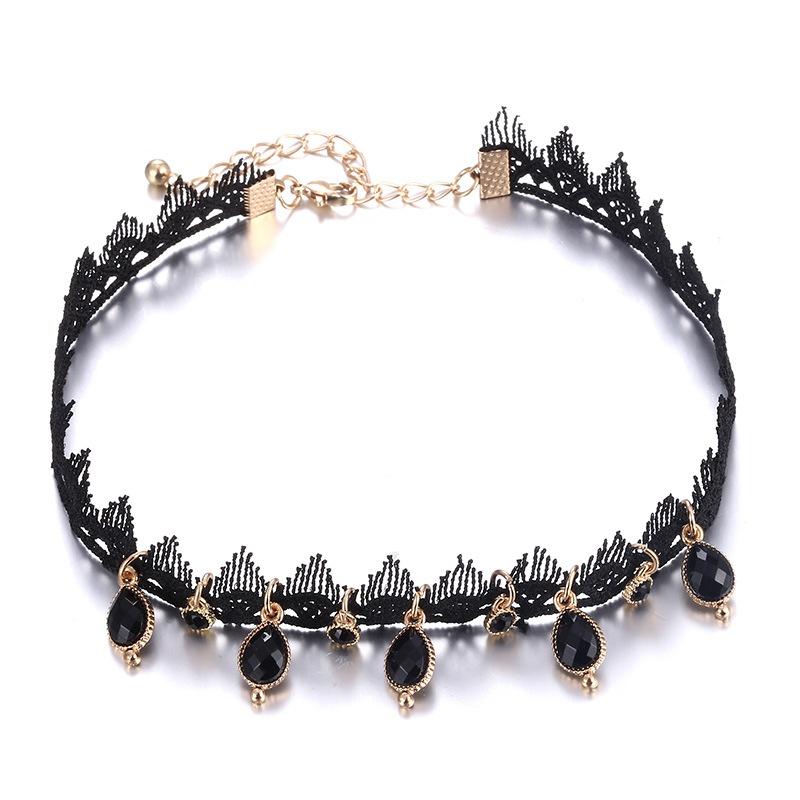 Punk alloy Inlaid stones necklace (Alloy black)  NHNTF1351-Alloy black