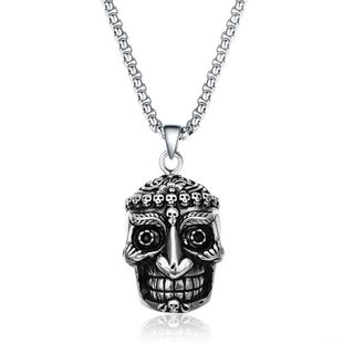 Simple metal plating Titanium steel necklace (Alloy)  NHIM0842-Alloy's discount tags
