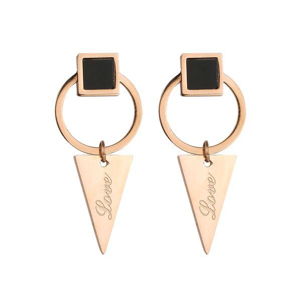 folk-custom metal plating Titanium steel earrings (Rose alloy pair)  NHIM0974-Rose alloy pair