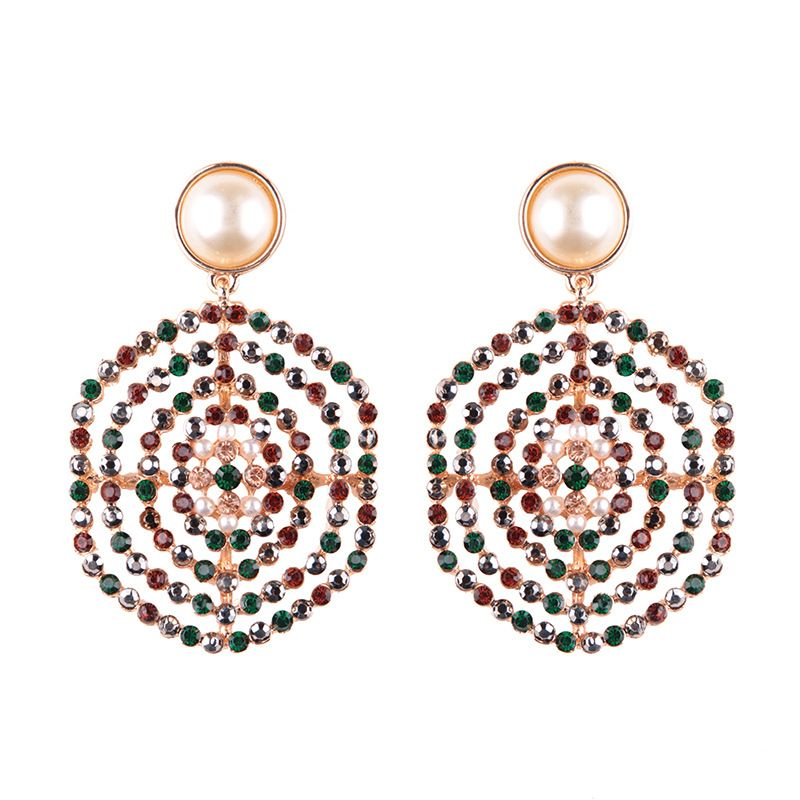 Other Alloy Rhinestone earring Geometric Photo Color  NHJQ9356Photo Color