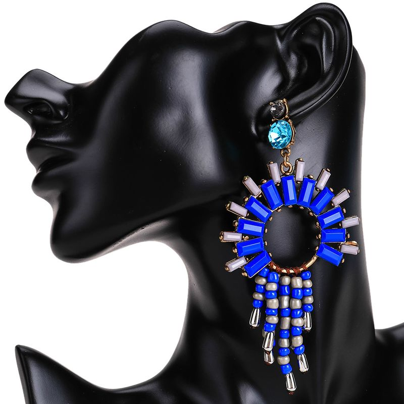 Fashion Alloy plating earring Geometric (blue)  NHJE0547-blue