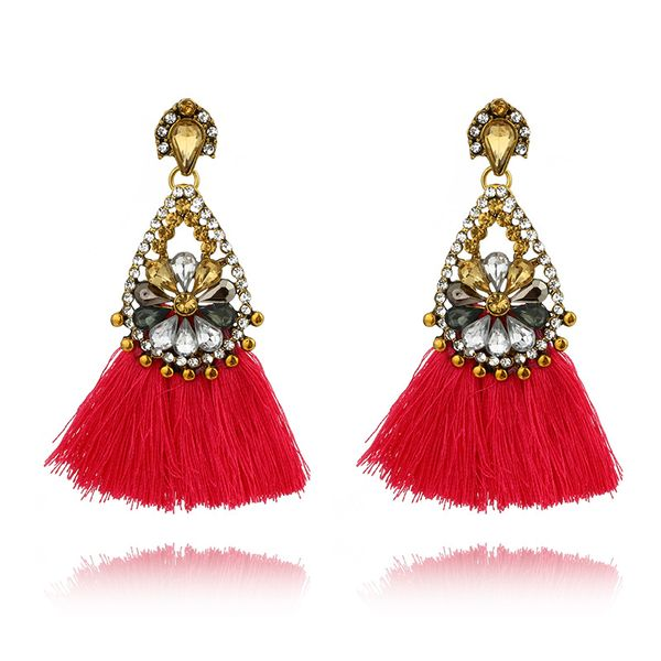 plating earring (Red - white drill)  NHGY0623-Red - white drill