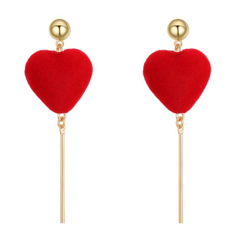 Korean sweet temperament velvet peach heart metal ball studs (red) NHNPS3800