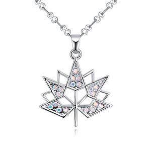 Imported Imitated crystal Necklace B  Maple Leaf love color white NHKSE27133