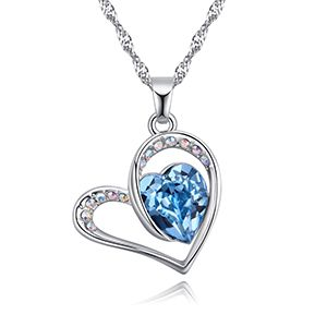 Austrian imitated crystal necklace  a happy lover sea blue NHKSE27128
