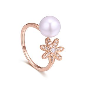 AAA Micro Inlay CZ Ring  Lucky Lady Rose Alloy NHKSE27235