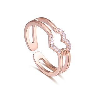 AAA Micro Ivory Ring  Hearts Love Rose Alloy NHKSE27233