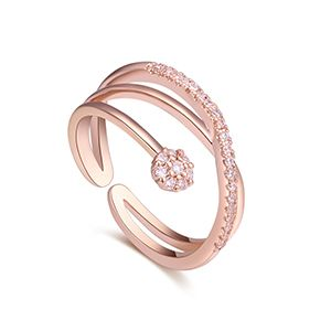 AAA CZ Ring  Winding Tenderness Rose Alloy NHKSE27215