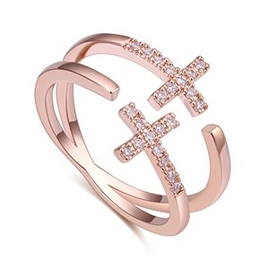 AAA Zircon Ring - Double Cross (Rose Alloy) NHKSE27207