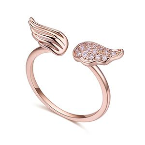 AAA CZ Ring  Angel Wings Rose Alloy NHKSE27197