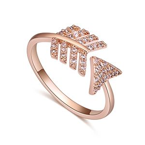 AAA Zircon Ring - Arrow feather (rose alloy) NHKSE27195