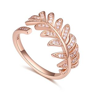 AAA Zircon Ring - Sweet Leaves (Rose Alloy) NHKSE27191