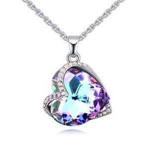 Austrian imitated crystal necklace - heart-soul integration (purple) NHKSE27185
