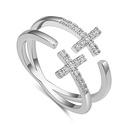 AAA Zircon Ring  Double Cross Rose Alloy NHKSE27207