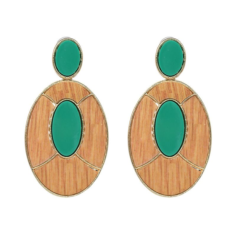 Plastic Fashion Geometric earring  (green) NHJJ3958-green