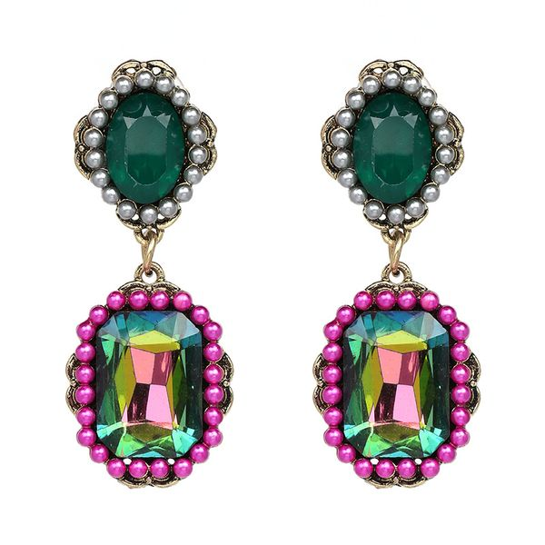 Imitated crystal&CZ Vintage Geometric earring  (color) NHJJ3959-color