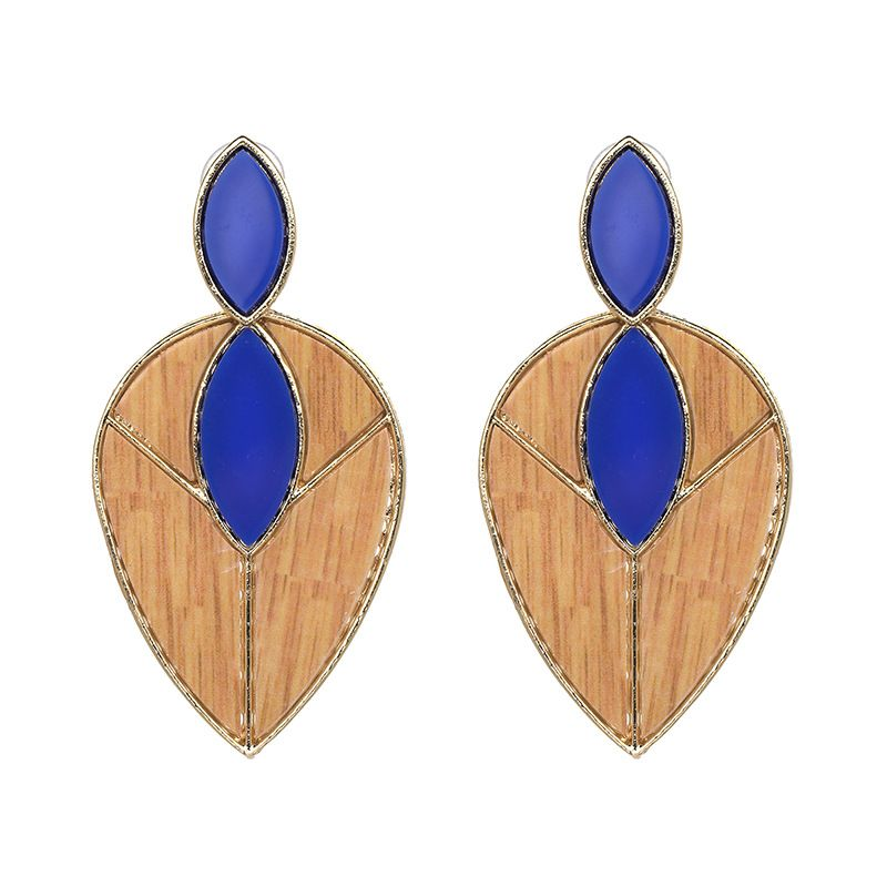 Plastic Fashion Geometric earring  (blue) NHJJ3960-blue