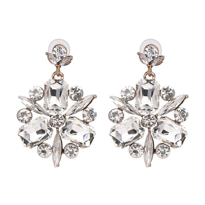 Imitated crystal&CZ Fashion Flowers earring  (white) NHJJ3961-white