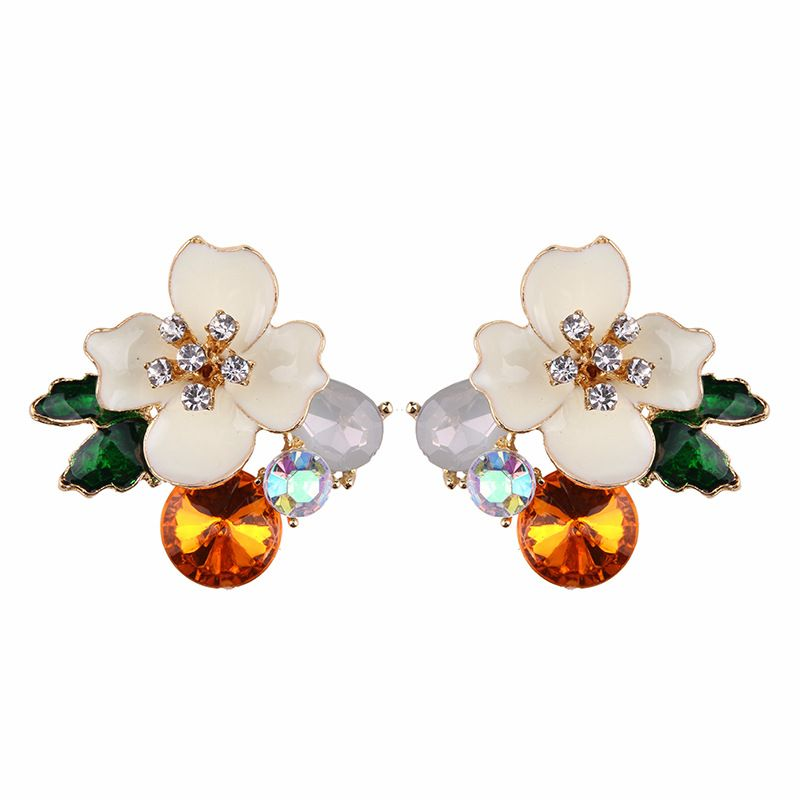 Alloy Fashion Flowers earring  (white) NHJQ9862-white