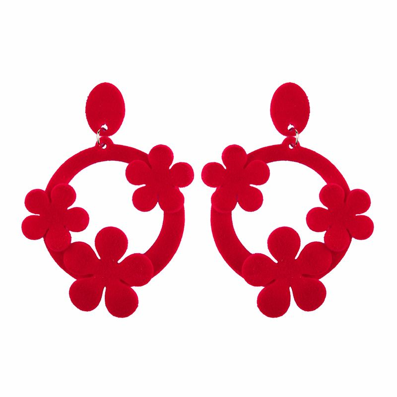 Imitated crystal&CZ Fashion Geometric earring  (red) NHJQ9865-red