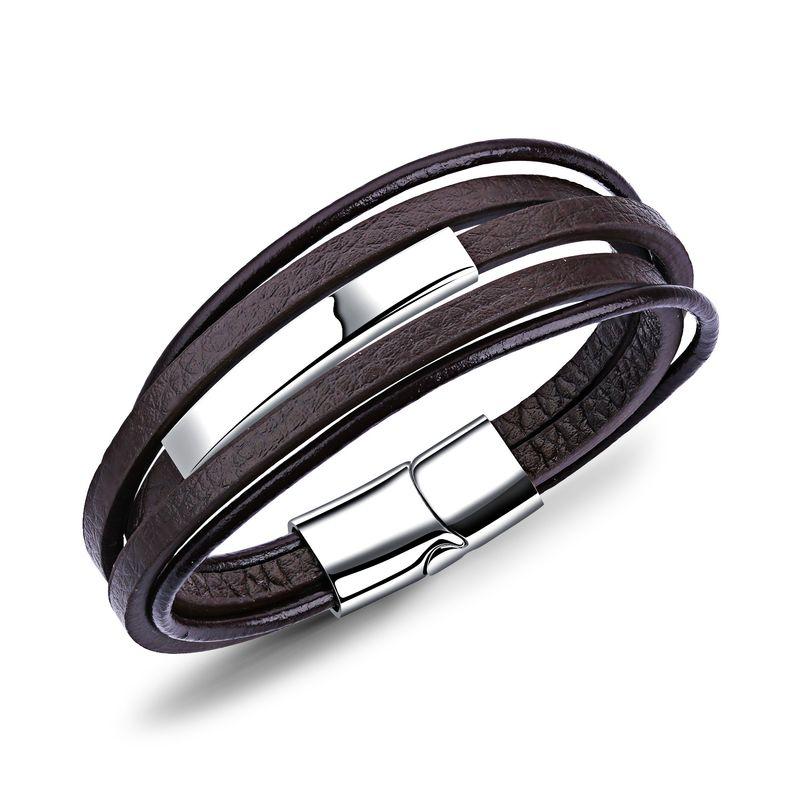 Leather Fashion Geometric bracelet  (brown) NHOP1636-brown